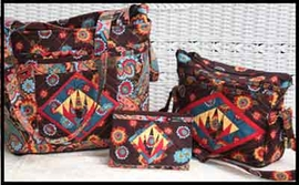 everyday bag, basic purse, and coupon holder with exclusively quilters fabrics