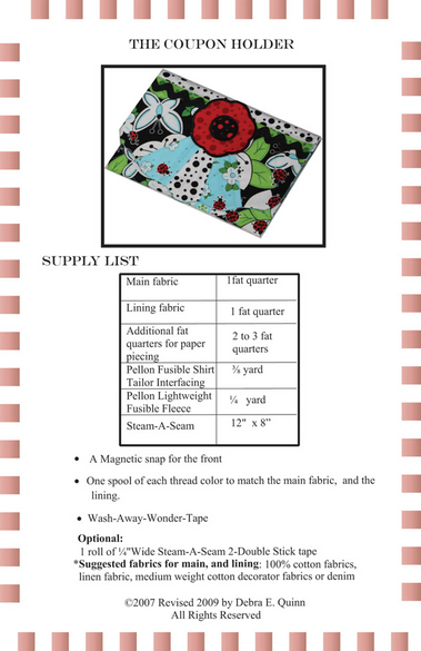 supply list for Country Charmers apron pattern